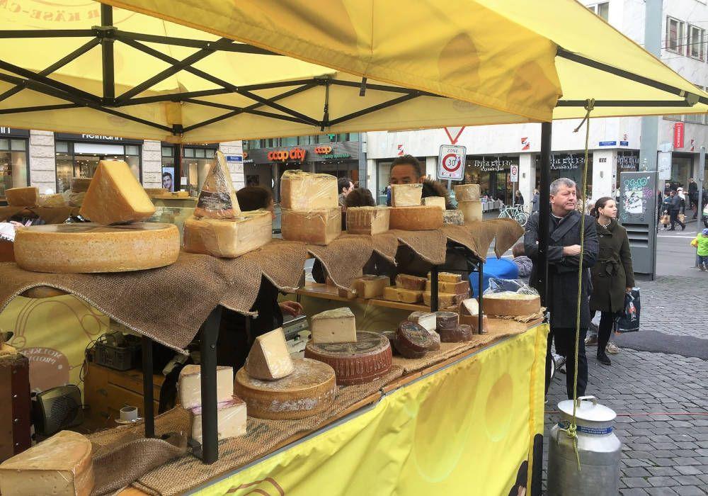 Cheese market in Switzerland