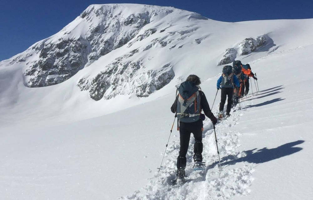 hiking on snow shoes in Switzerland