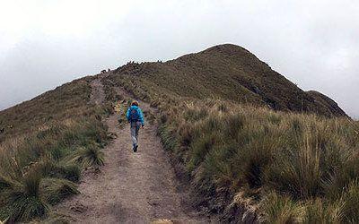 Hiking at the Pichincha vulcano